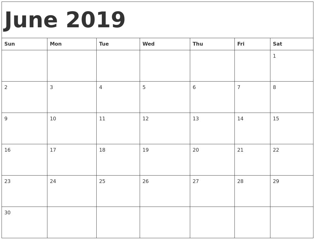 June 2019 Printable Calendar Templates - Free Pdf Holidays - Free in Free Blank Calendar Templates To Print