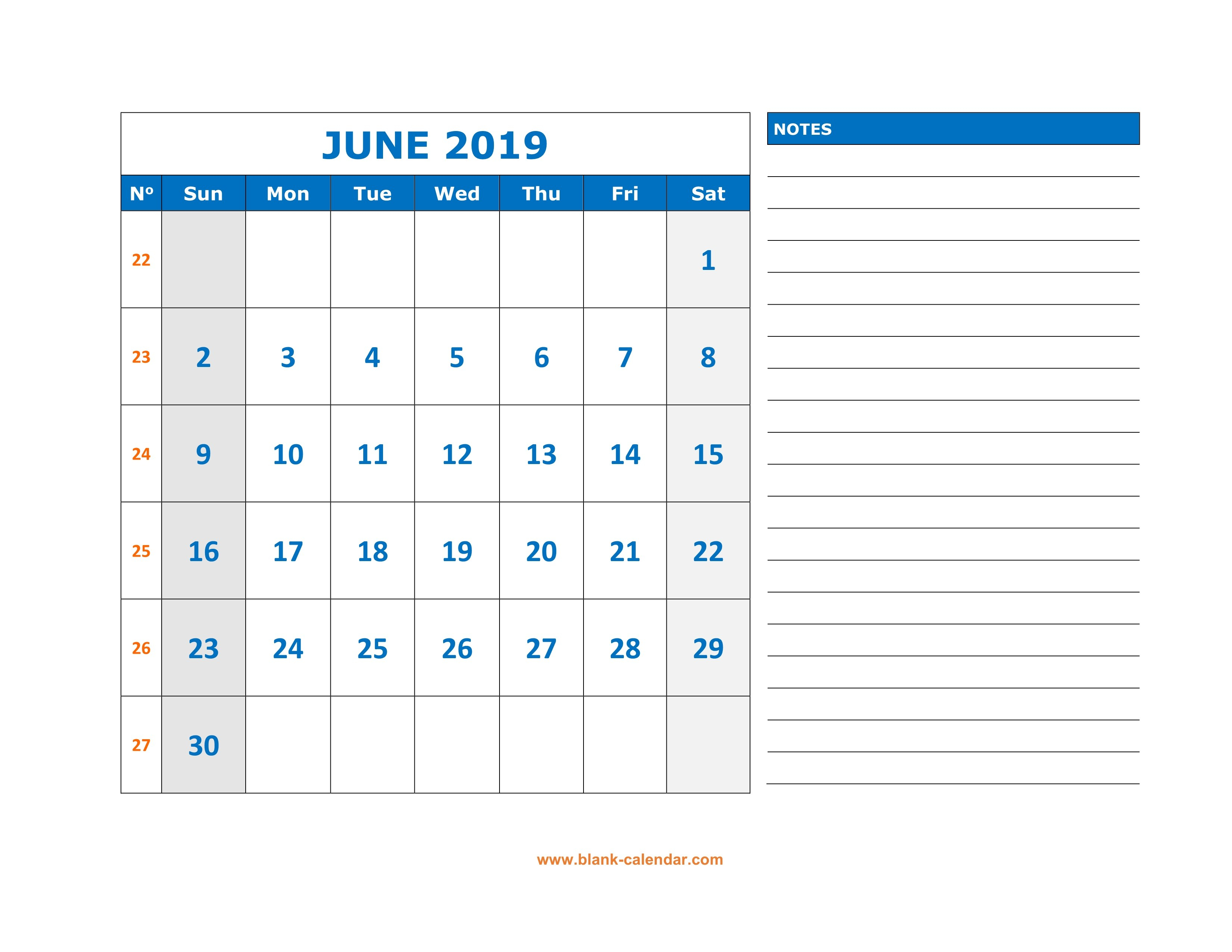 June 2019 Printable Calendar Templates - Free Pdf Holidays - Free intended for June Calendar Printable Template