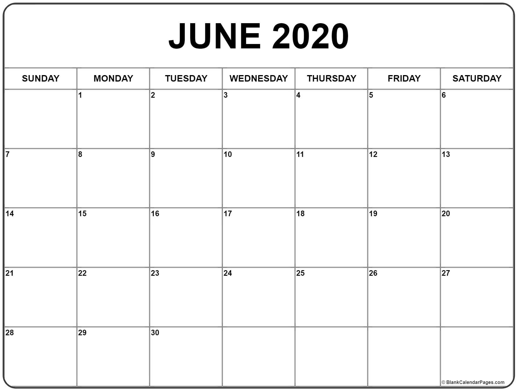 June 2020 Calendar | Free Printable Monthly Calendars in Free Printable Fill In Calendars 2020