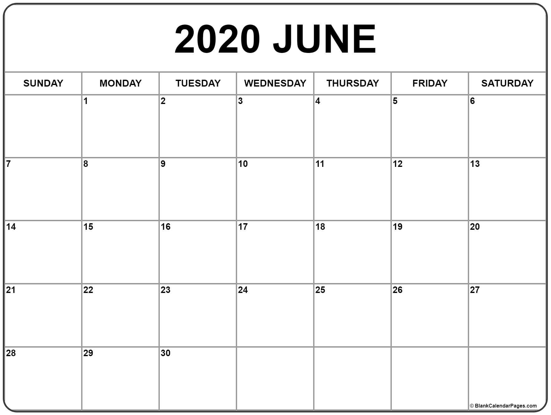 June 2020 Calendar | Free Printable Monthly Calendars inside Free Calendar At A Glance 2020