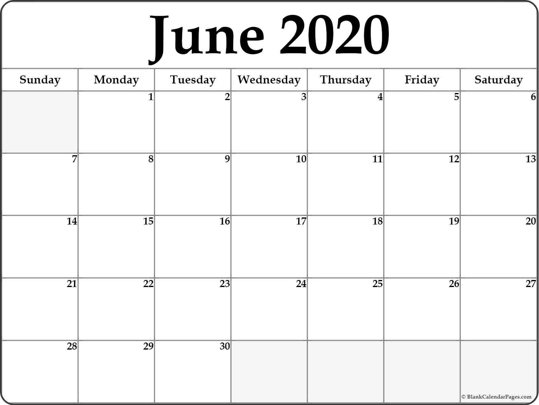 June 2020 Calendar | Free Printable Monthly Calendars pertaining to Free Calendar July 2019-June 2020