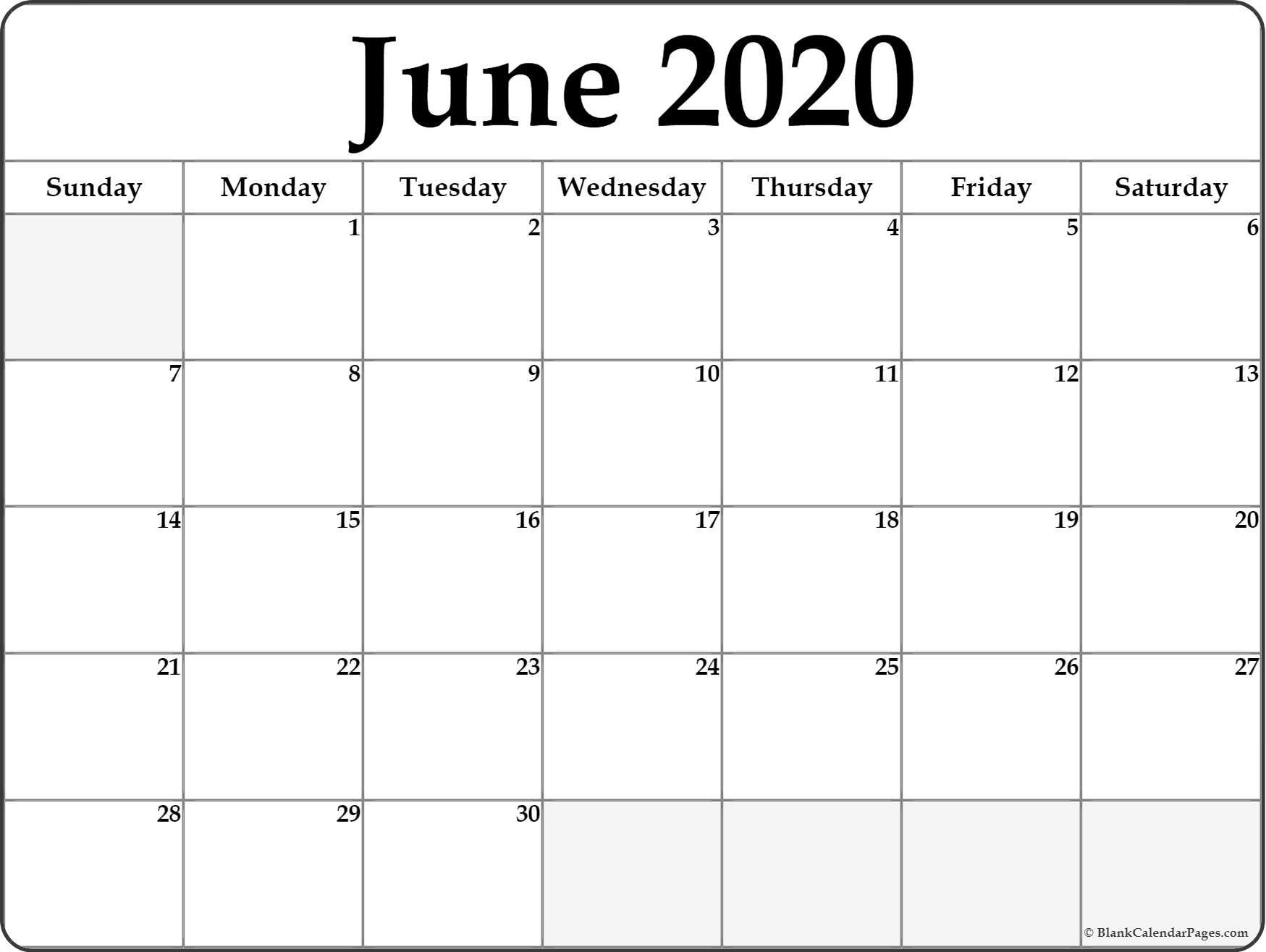 June 2020 Calendar | Free Printable Monthly Calendars with regard to Free Printed Calendars From June 2019 To June 2020