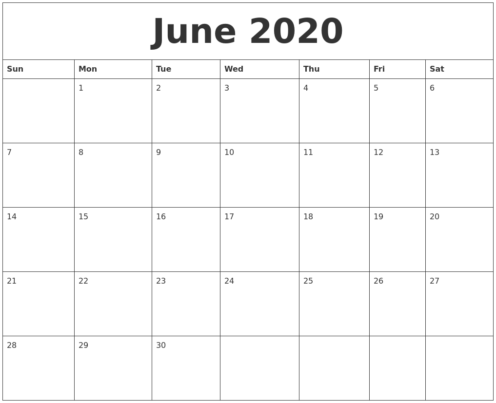 June 2020 Calendar Printable Free with regard to July 2019 - July 2020 Calendar Printable Free