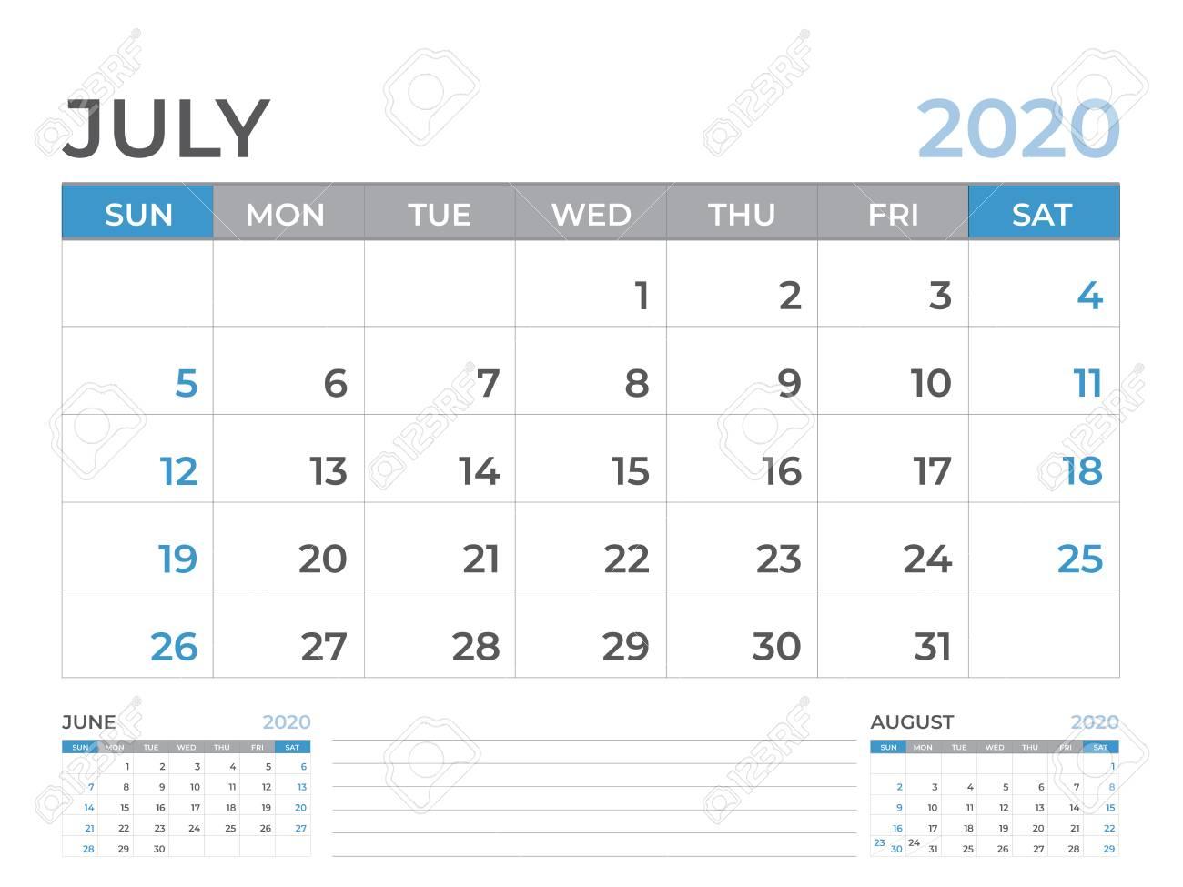 June 2020 Calendar Template, Desk Calendar Layout Size 8 X 6 Inch, Planner  Design, Week Starts On Sunday, Stationery Design, Vector Eps10 for 10 X 8 Planner Template