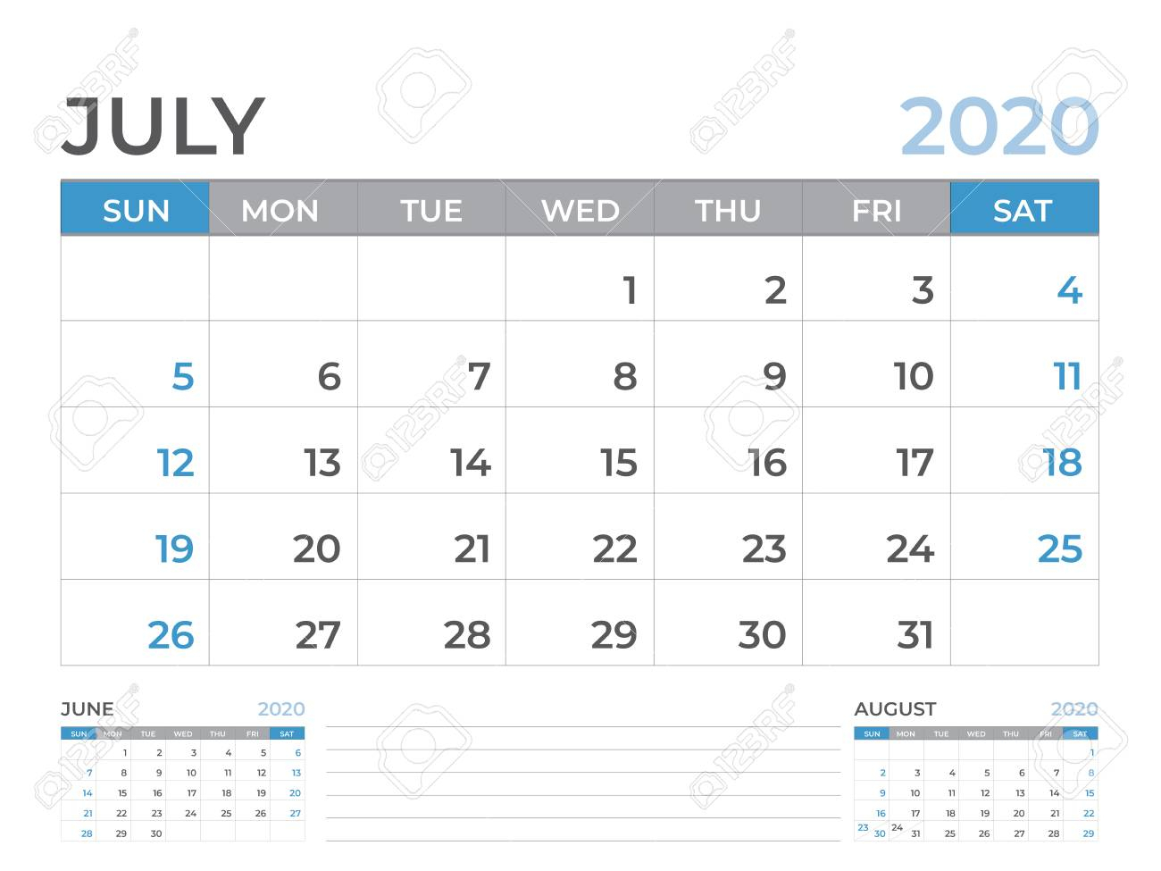 June 2020 Calendar Template, Desk Calendar Layout Size 8 X 6 Inch, Planner  Design, Week Starts On Sunday, Stationery Design, Vector Eps10 with regard to Blank Calendar 6 Weeks Start On Sunday