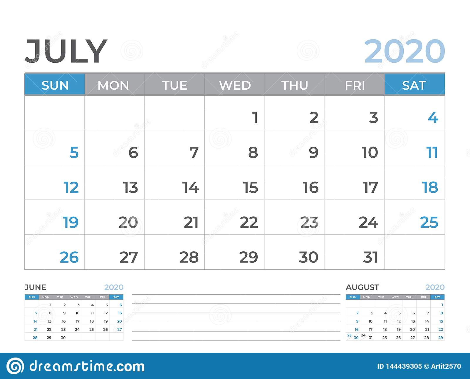 June 2020 Calendar Template, Desk Calendar Layout Size 8 X 6 Inch with 2 Week Schedule Template Mon- Sunday