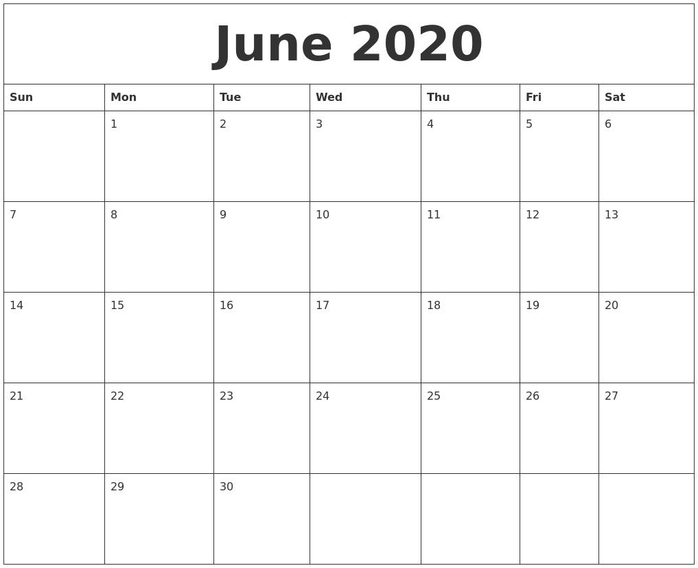 June 2020 Free Printable Calendar Templates throughout Free Printable Calendar Templates Month