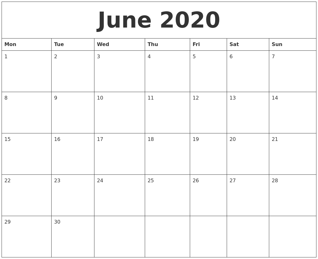 June 2020 Free Printable Calendar Templates within Printable Calendar June 2019 To June 2020