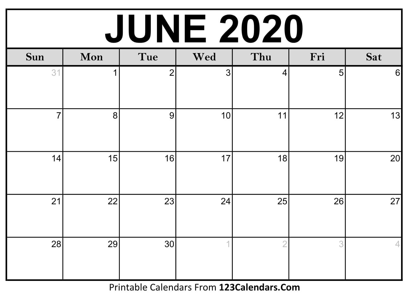 June 2020 Printable Calendar | 123Calendars for June 2019-June 2020 Yearly Calendar