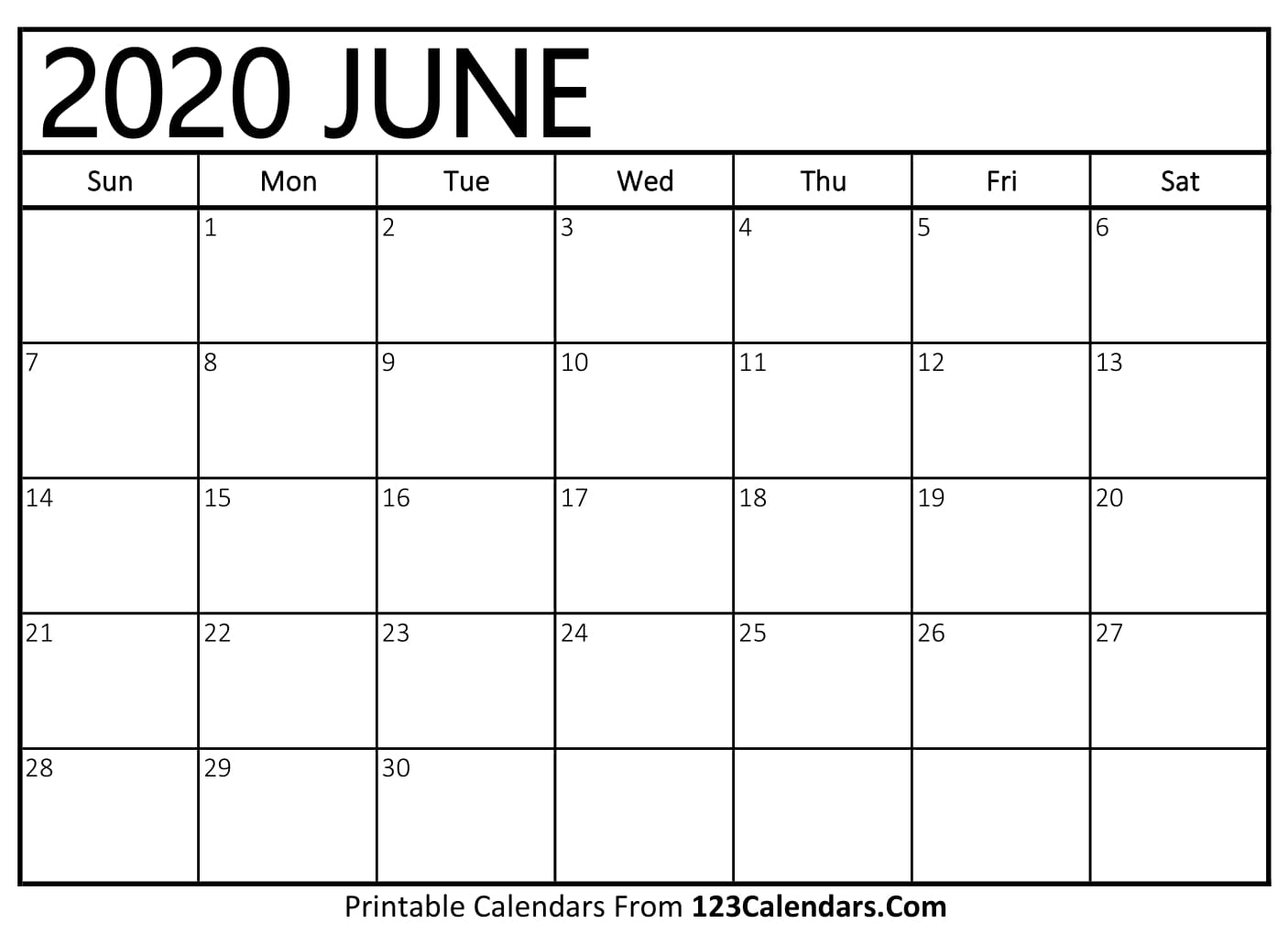 June 2020 Printable Calendar | 123Calendars inside 2020 Printable Liturgical Calendar Free