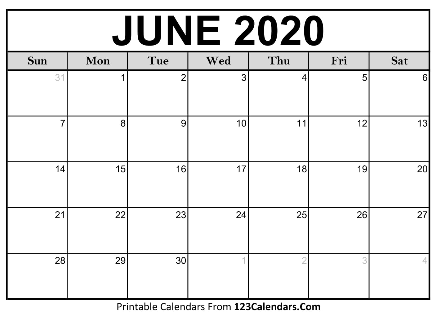 June 2020 Printable Calendar | 123Calendars regarding Printable Calendar June 2019 To June 2020