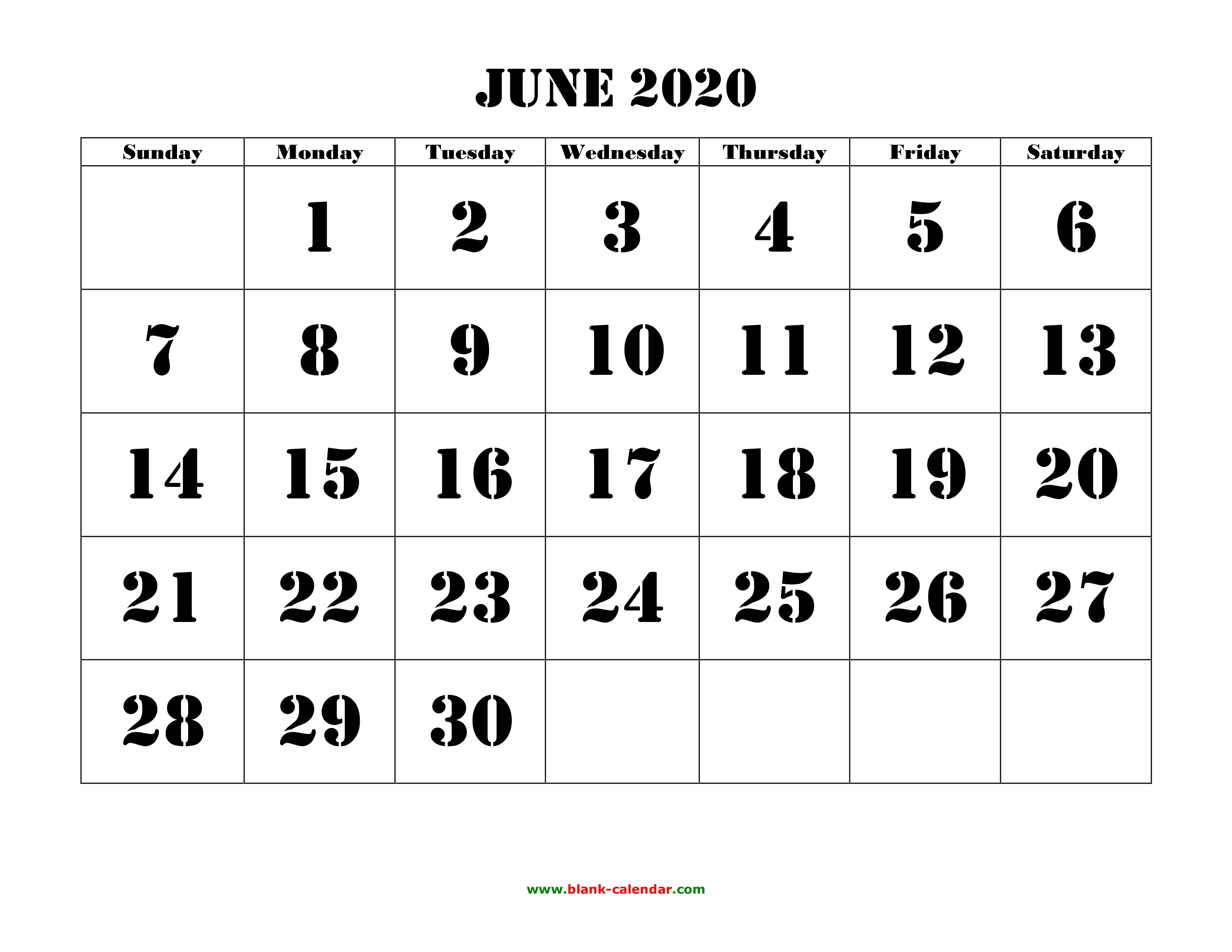 June 2020 Printable Calendar | Free Download Monthly Calendar Templates pertaining to 2020 Free Printable Calendar Large Numbers