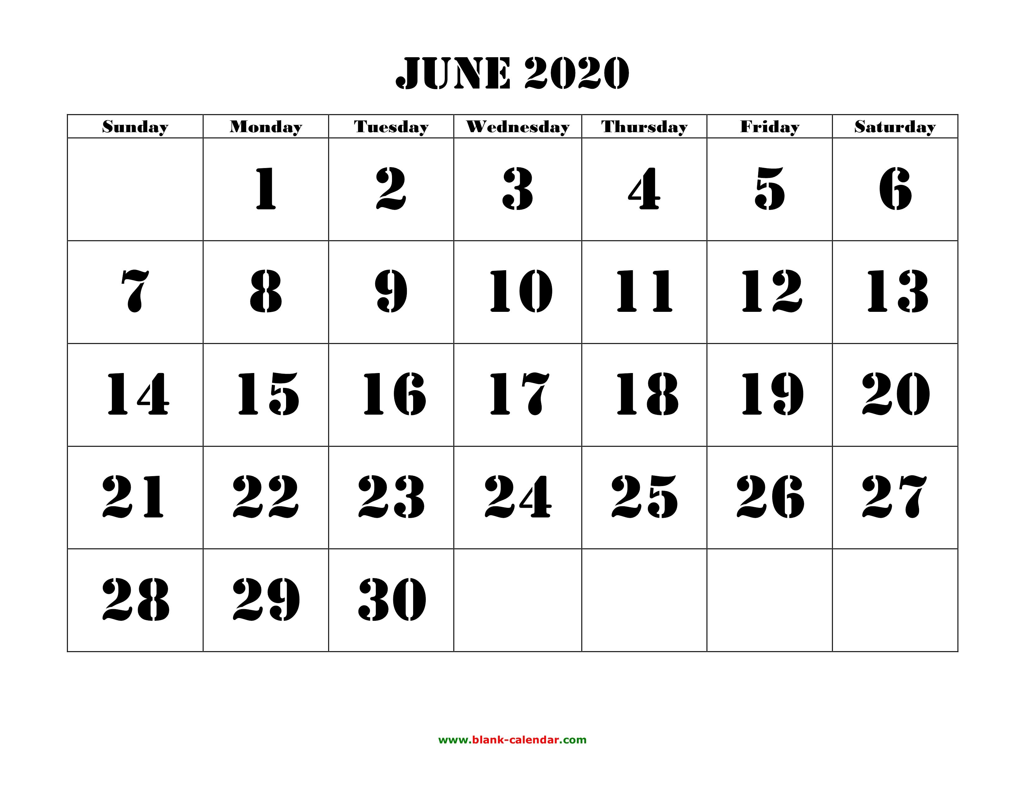 June 2020 Printable Calendar   Free Download Monthly Calendar Templates pertaining to 2020 Free Printable Calendar Large Numbers