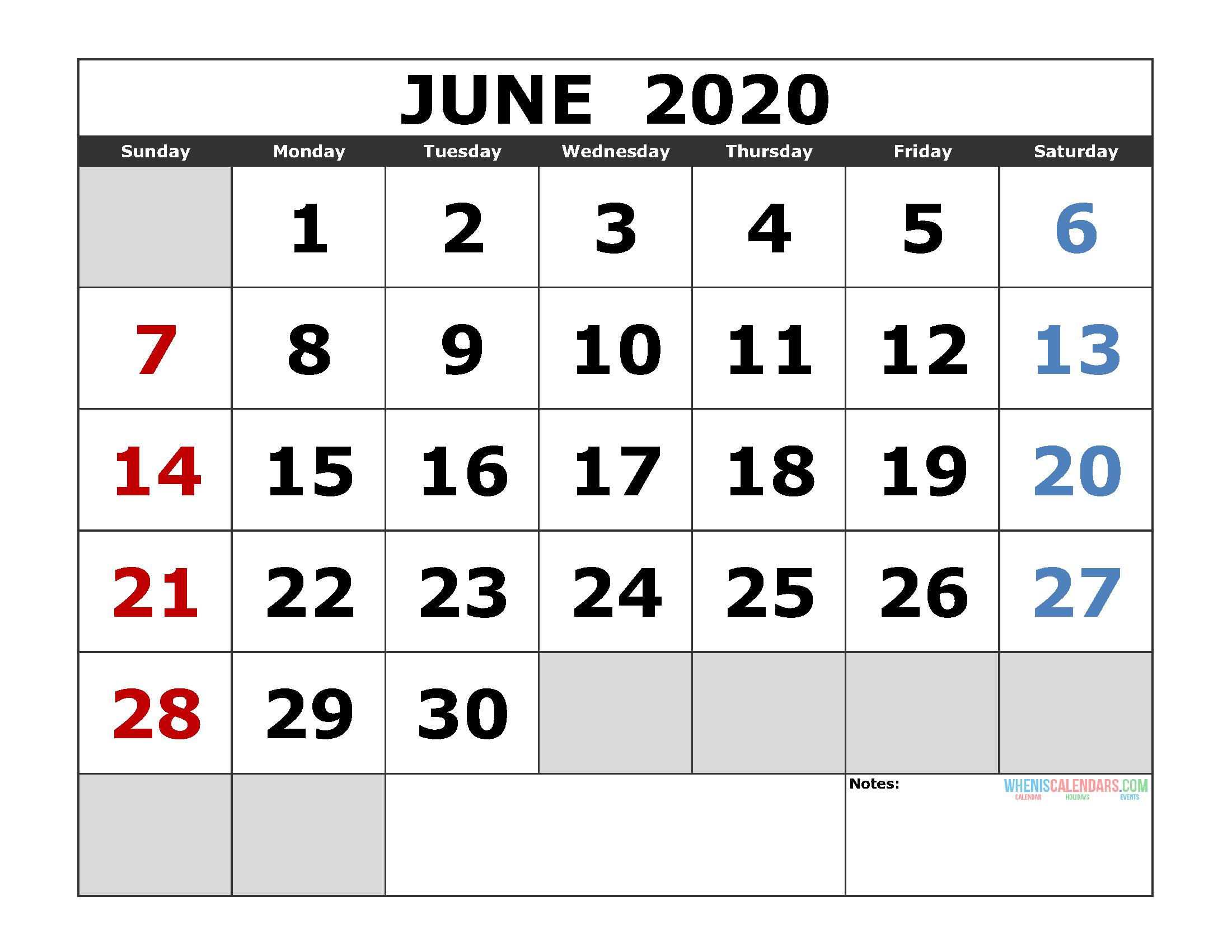 June 2020 Printable Calendar Template Excel, Pdf, Image [Us. Edition throughout 2020 Printable Calendar Templates Quarterly