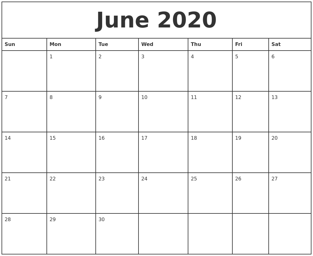 June 2020 Printable Monthly Calendar with regard to Blank June And July Calendar
