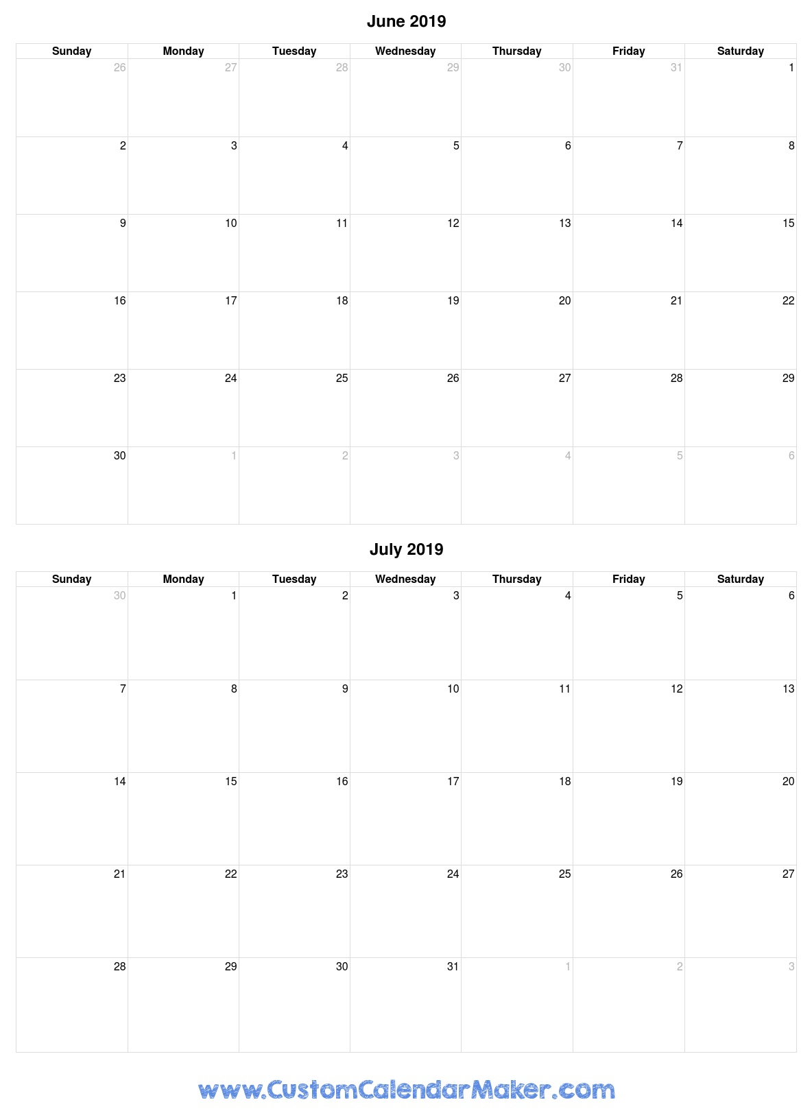 June And July 2019 Free Printable Calendar Template throughout Blank June And July Calendar