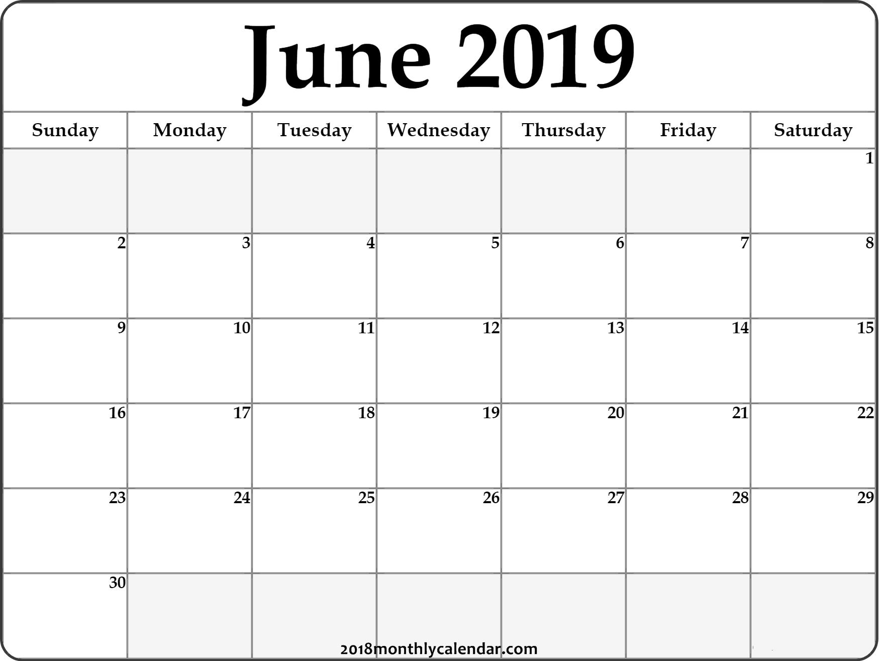 June Calendar 2019 #june #2019Calendar #june2019 #junecalendar for Blank Printable Calendar Free