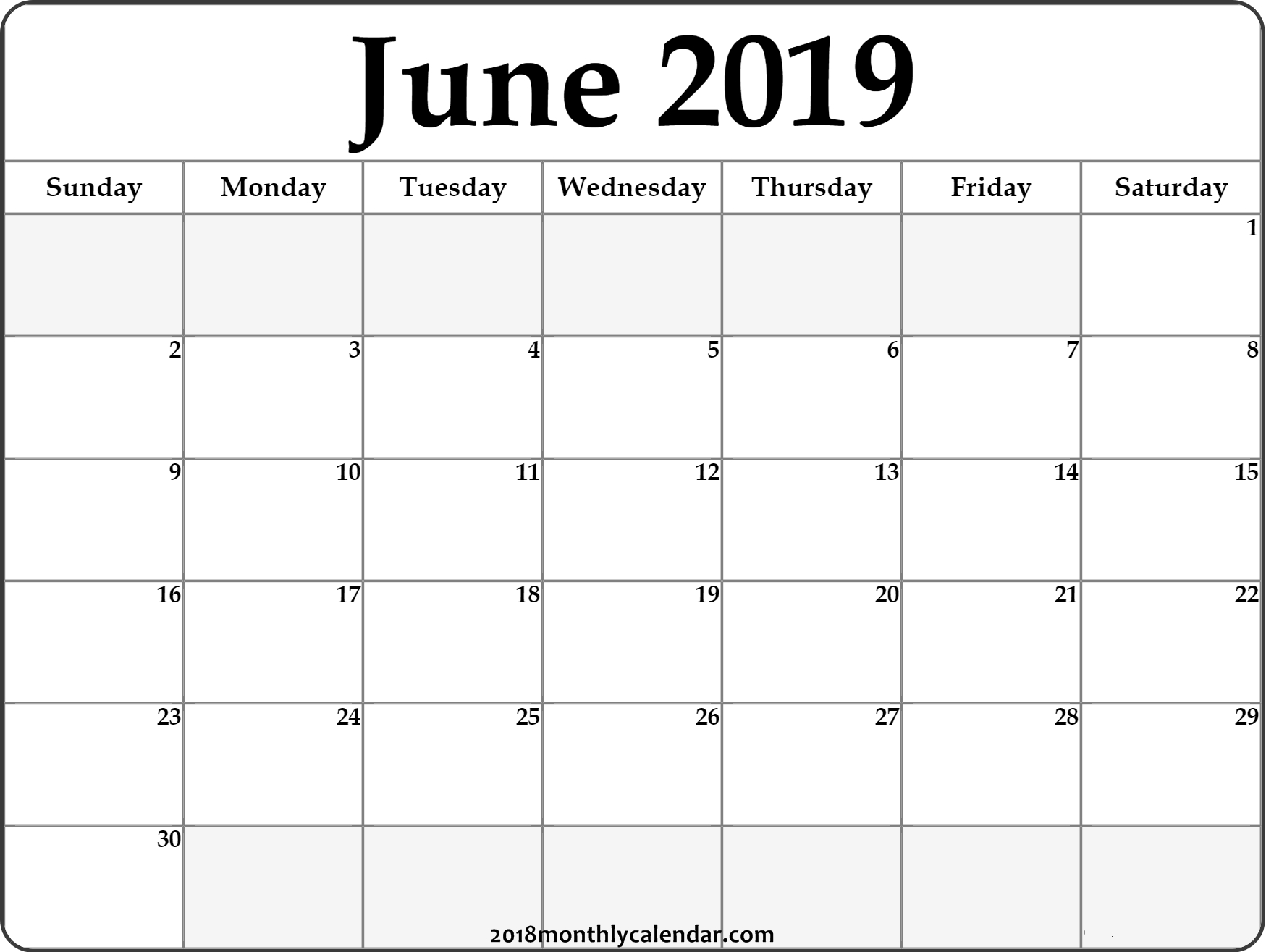 June Calendar 2019 #june #2019Calendar #june2019 #junecalendar intended for June Printable Monthly Calendar Template Monday Through Friday