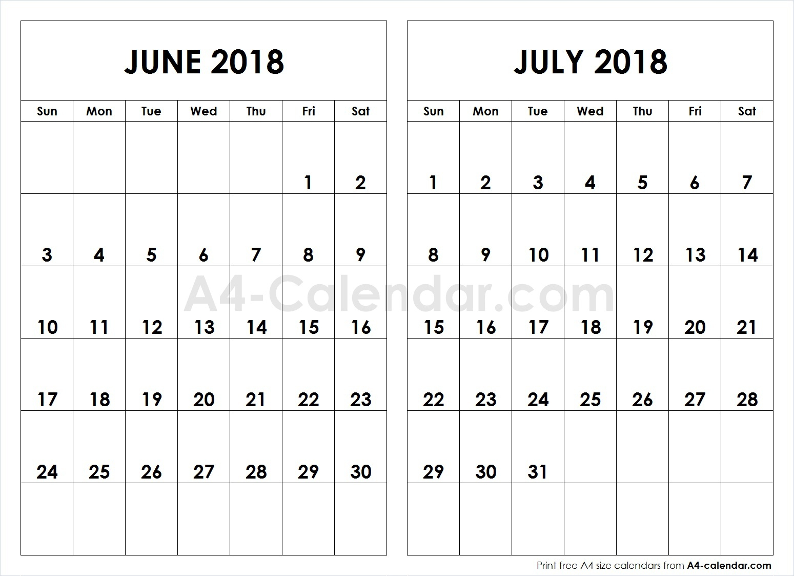 June July 2018 A4 Calendar | 2 Month Calendar Template inside 2 Month Calendar Template June July