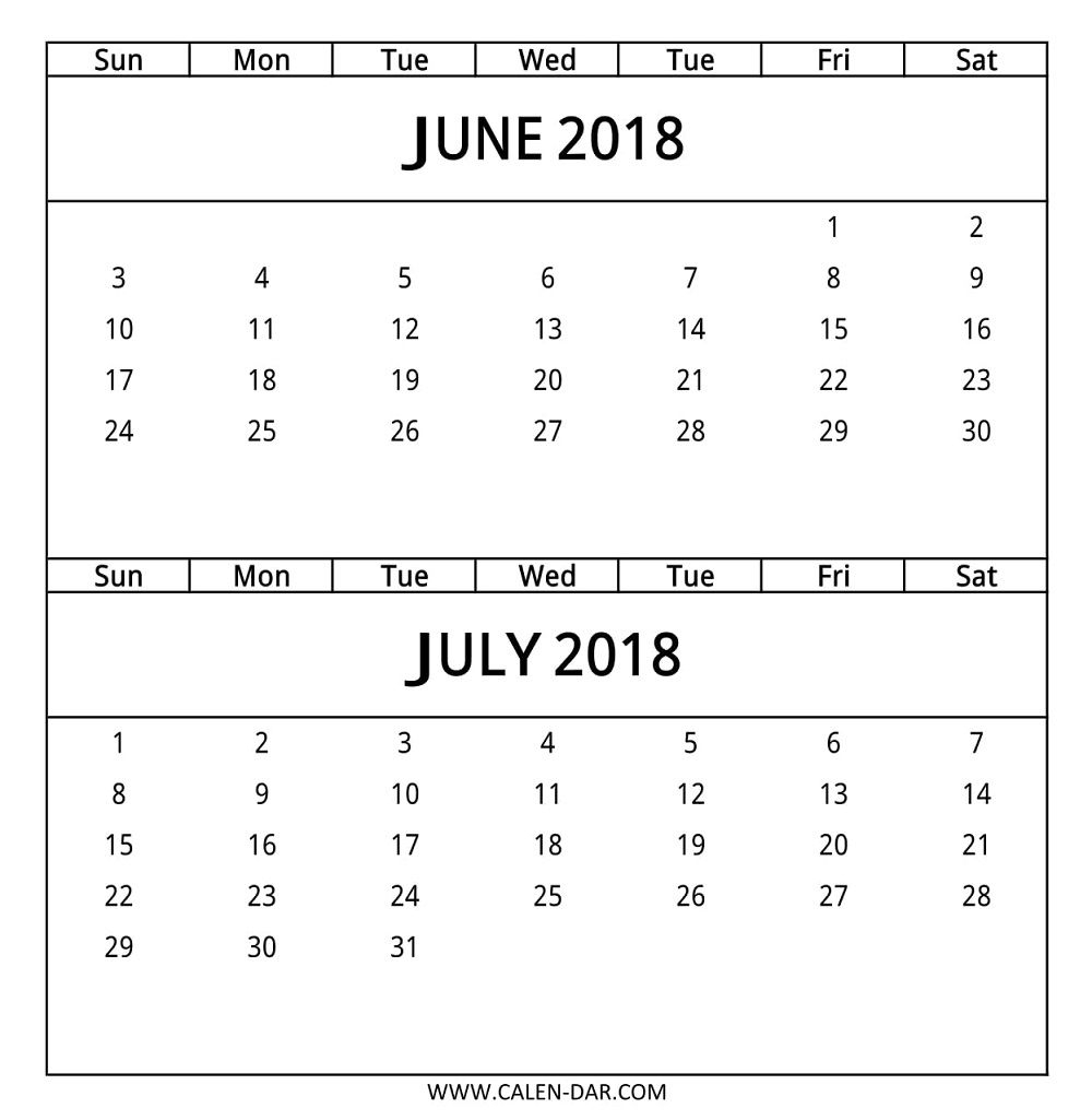 June July 2018 Calendar 2 Month Template | 2018 Calendar | Calendar regarding 2 Month Calendar Template June July