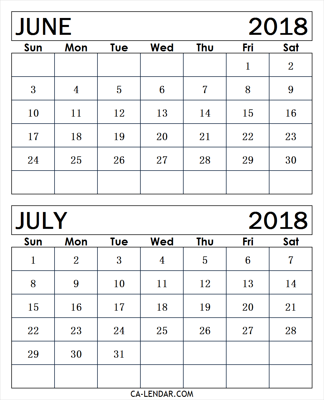 June July 2018 Calendar Free Printable | Two Months Calendar within 2 Month Calendar Template June July
