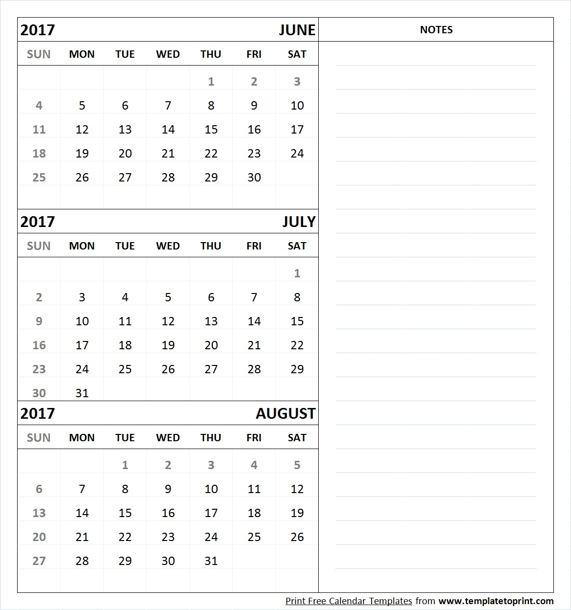 June July August 2017 Calendar Printable Template Pdf for Template June July August