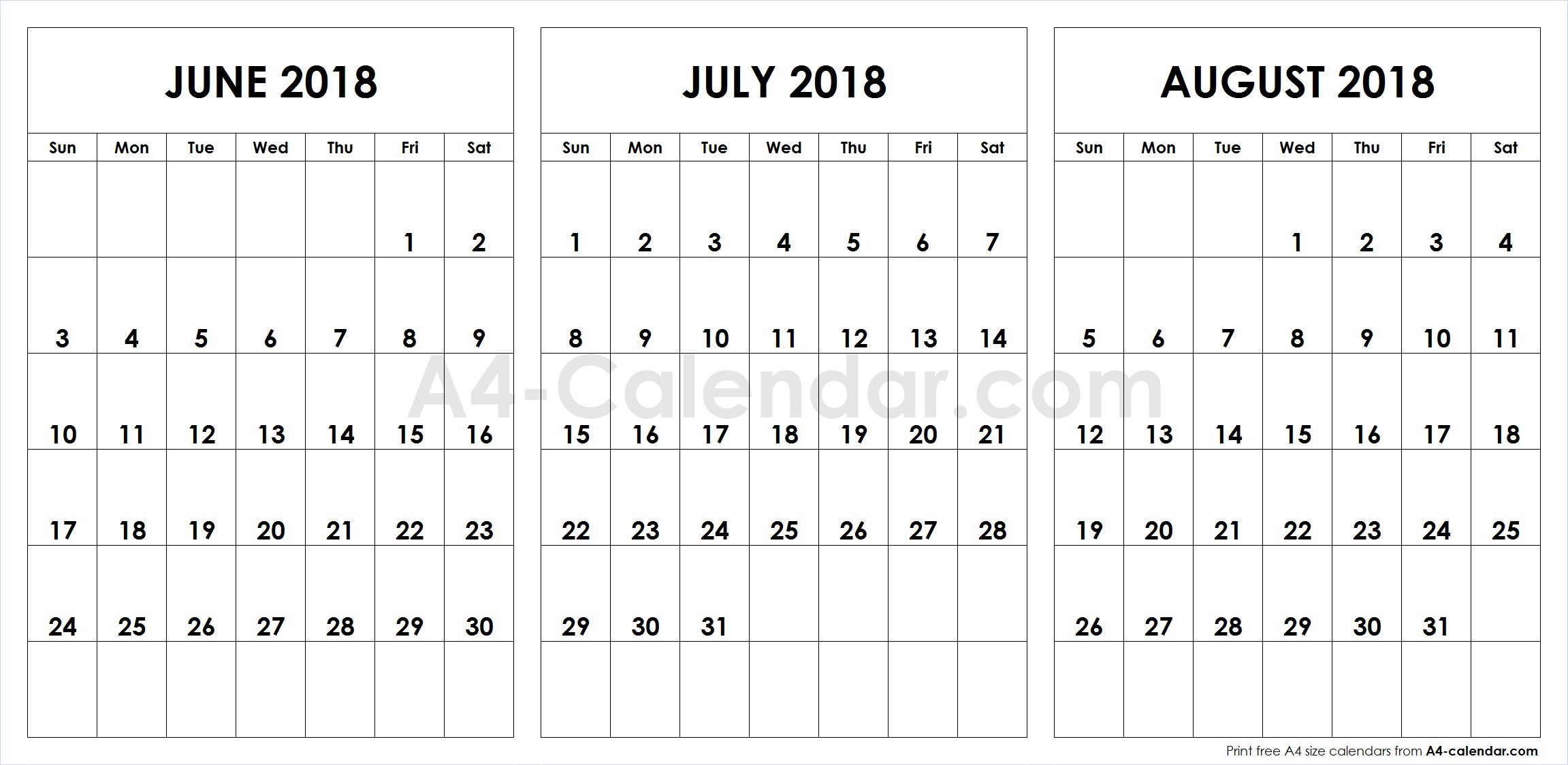 June July August 2018 A4 Calendar | 3 Month Calendar Template intended for Blank June July August Calendar