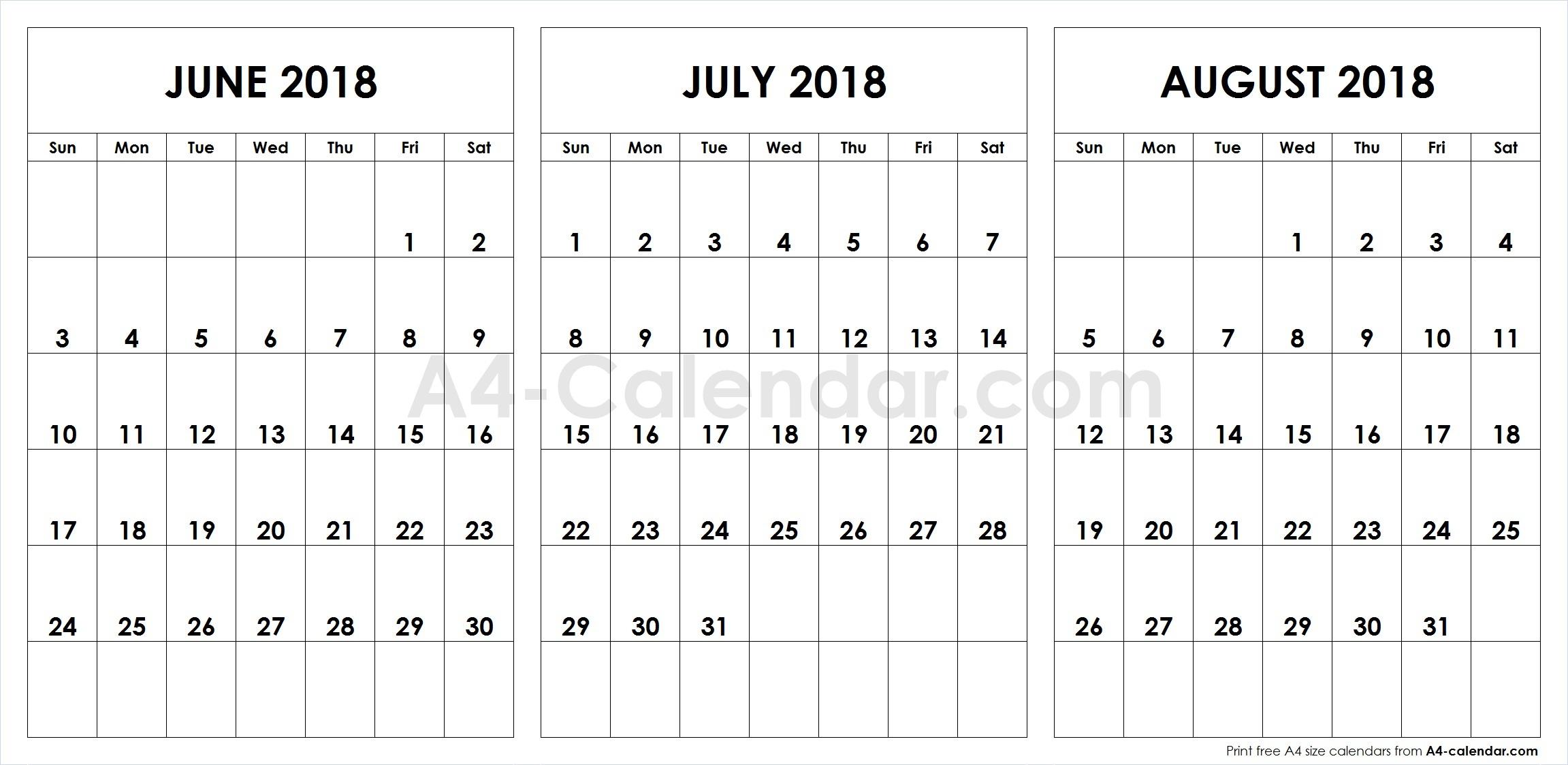 June July August 2018 A4 Calendar | 3 Month Calendar Template throughout Template June July August
