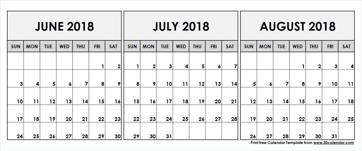 June July August 2018 Printable Calendar | 2018 Calendar | 3 Month for Blank Calendar June July August