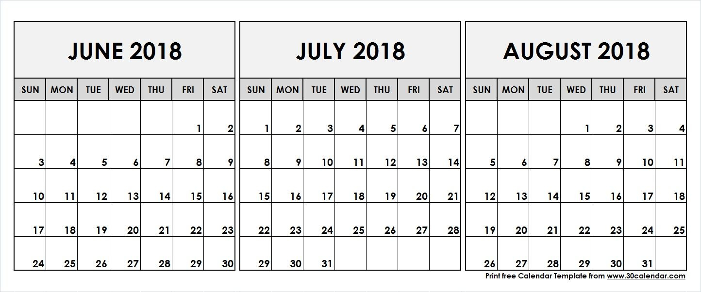 June July August 2018 Printable Calendar | 2018 Calendar | 3 Month pertaining to Blank June July August Calendar