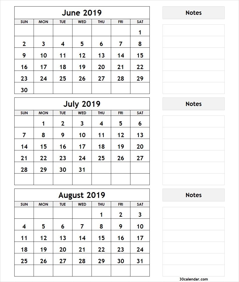 June July August 2019 Calendar | 3 Month Calendar Template regarding Template June July August