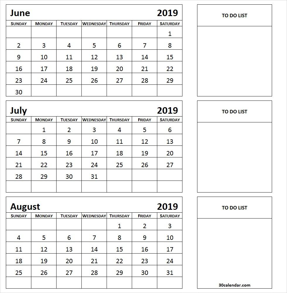 June-July-August-2019-Calendar-Template - 30 Day Calendar pertaining to Template June July August
