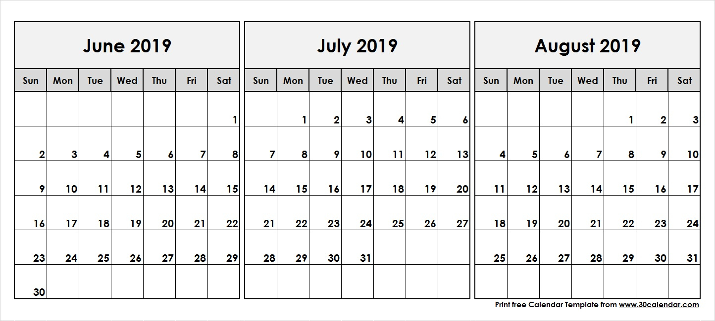 June-July-August-2019-Printable-Calendar - 30 Day Calendar in Blank June July August Calendar