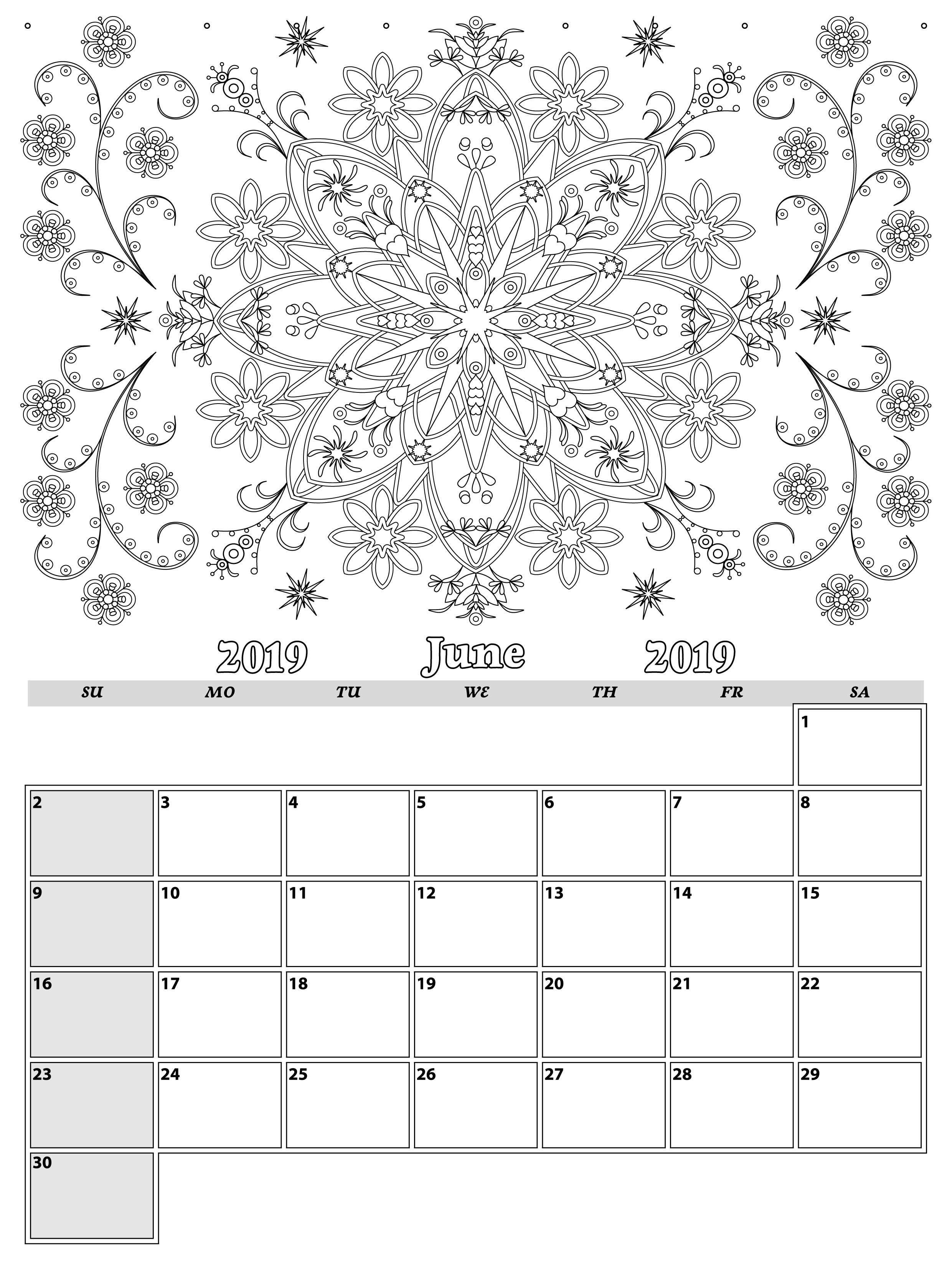 June. Monthly Planner 2019 In Doodle Style For Relax And Plan with regard to Doodle Monthly Planner Printer Templates