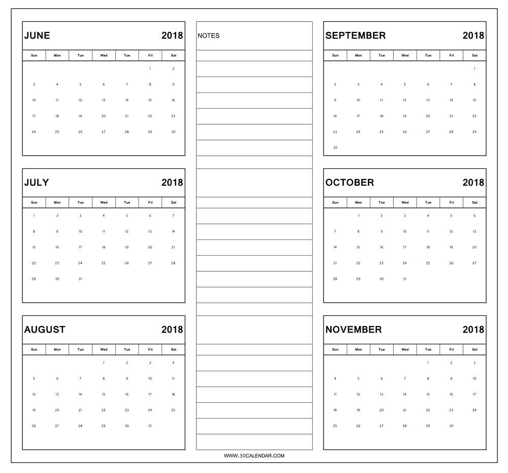 June To November 2018 Calendar Printable | 6 Month Calendar 2018 within Blank 6 Month Calendar