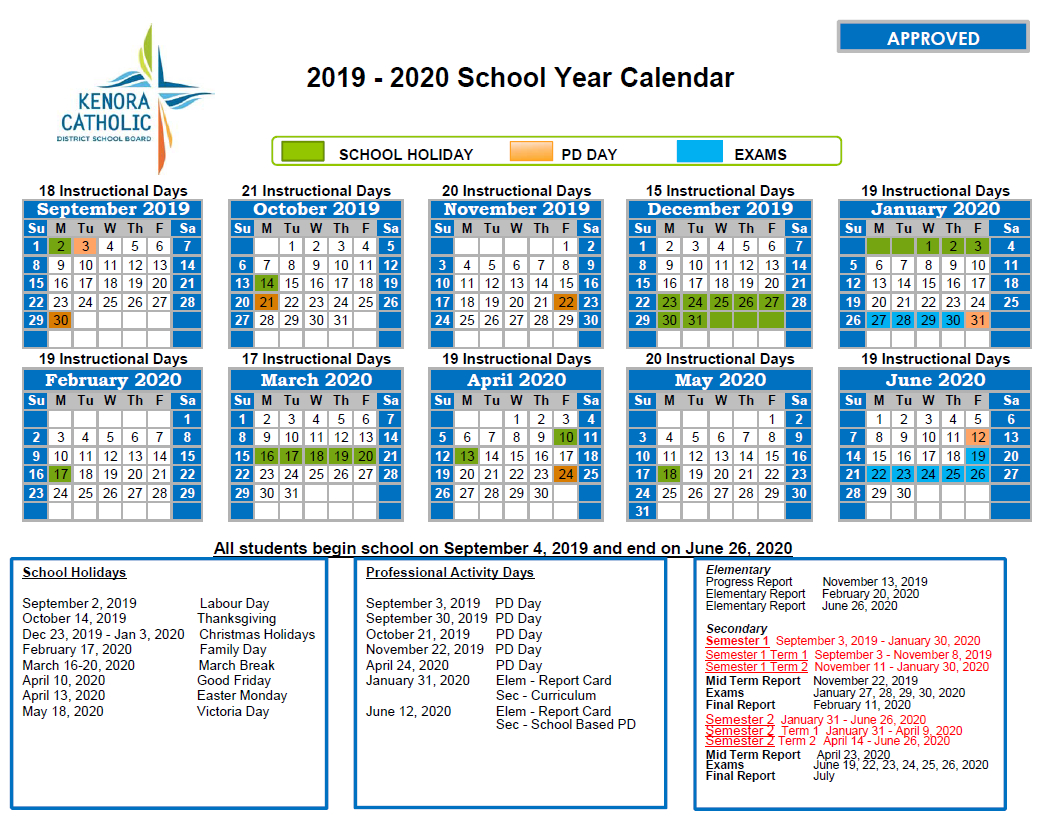 Kenora Catholic District School Board pertaining to Calendar With All The Special Days In 2020