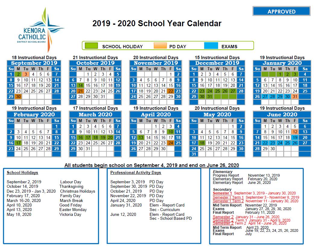 Kenora Catholic District School Board regarding Calendar With Special Days 2020