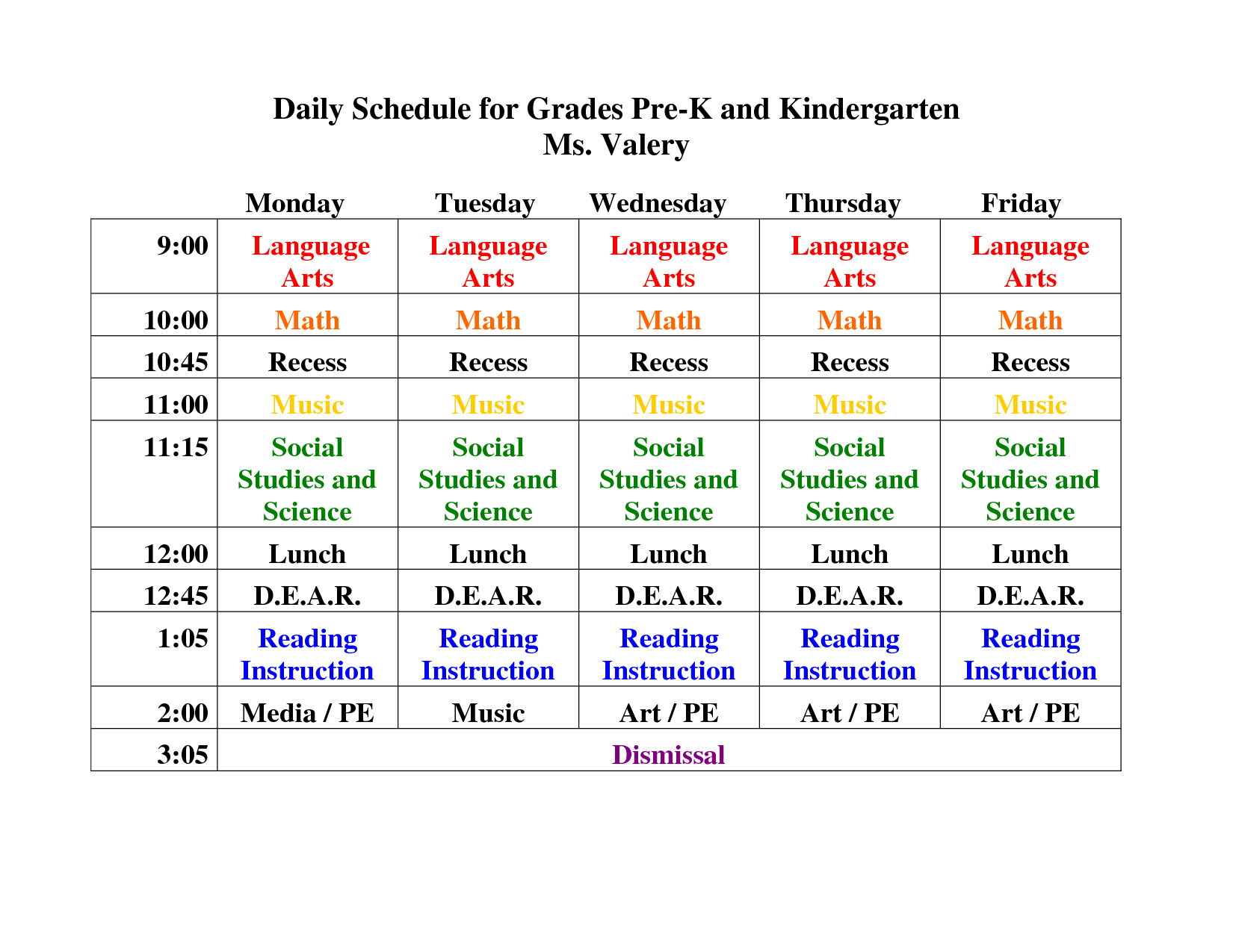 Kindergarten+Daily+Schedule+Template | Daily Schedule For Grades Pre pertaining to Free Preschool Template For Schedule