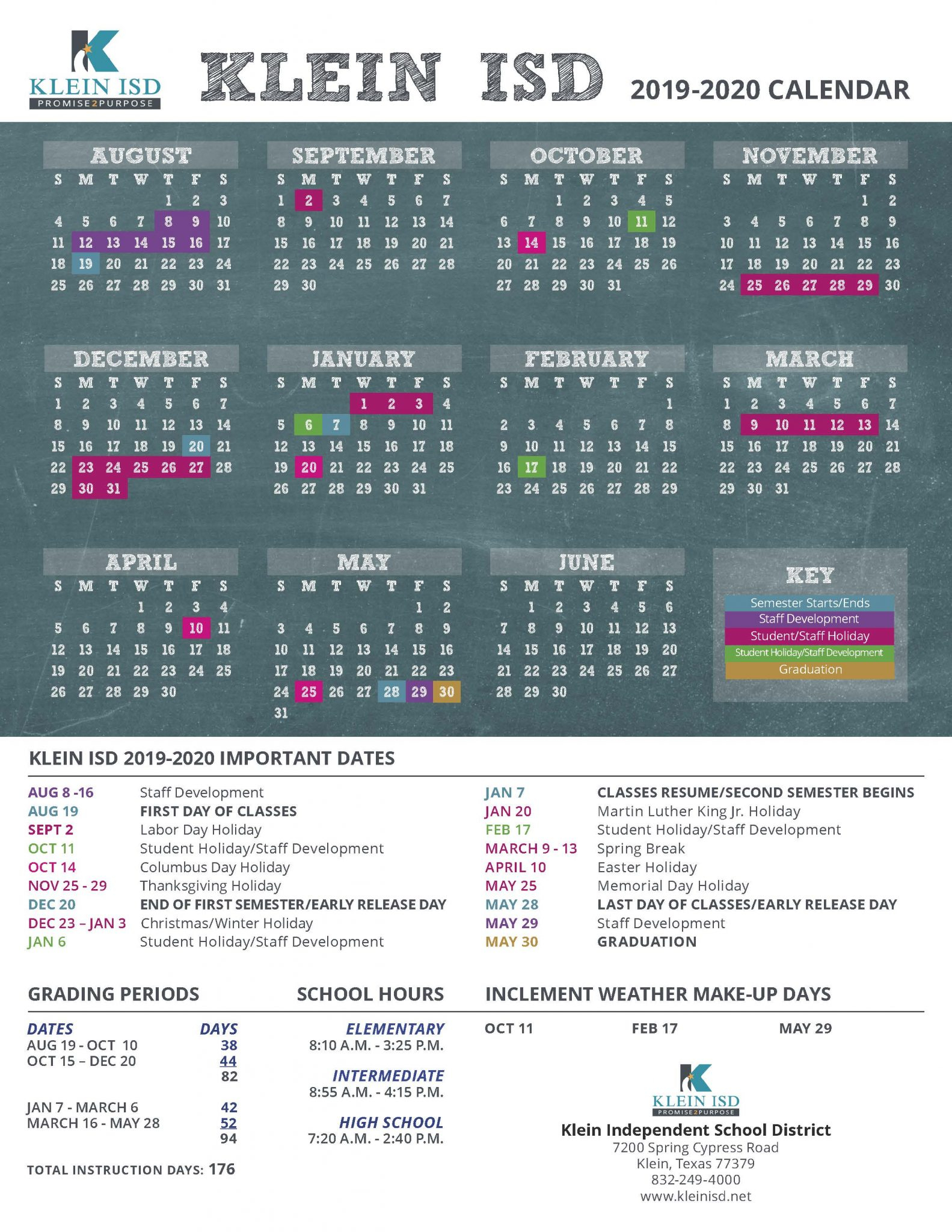Klein Isd Announces Calendar For 2019-2020 School Year - Cain Live inside Special Days Of The Year 2020