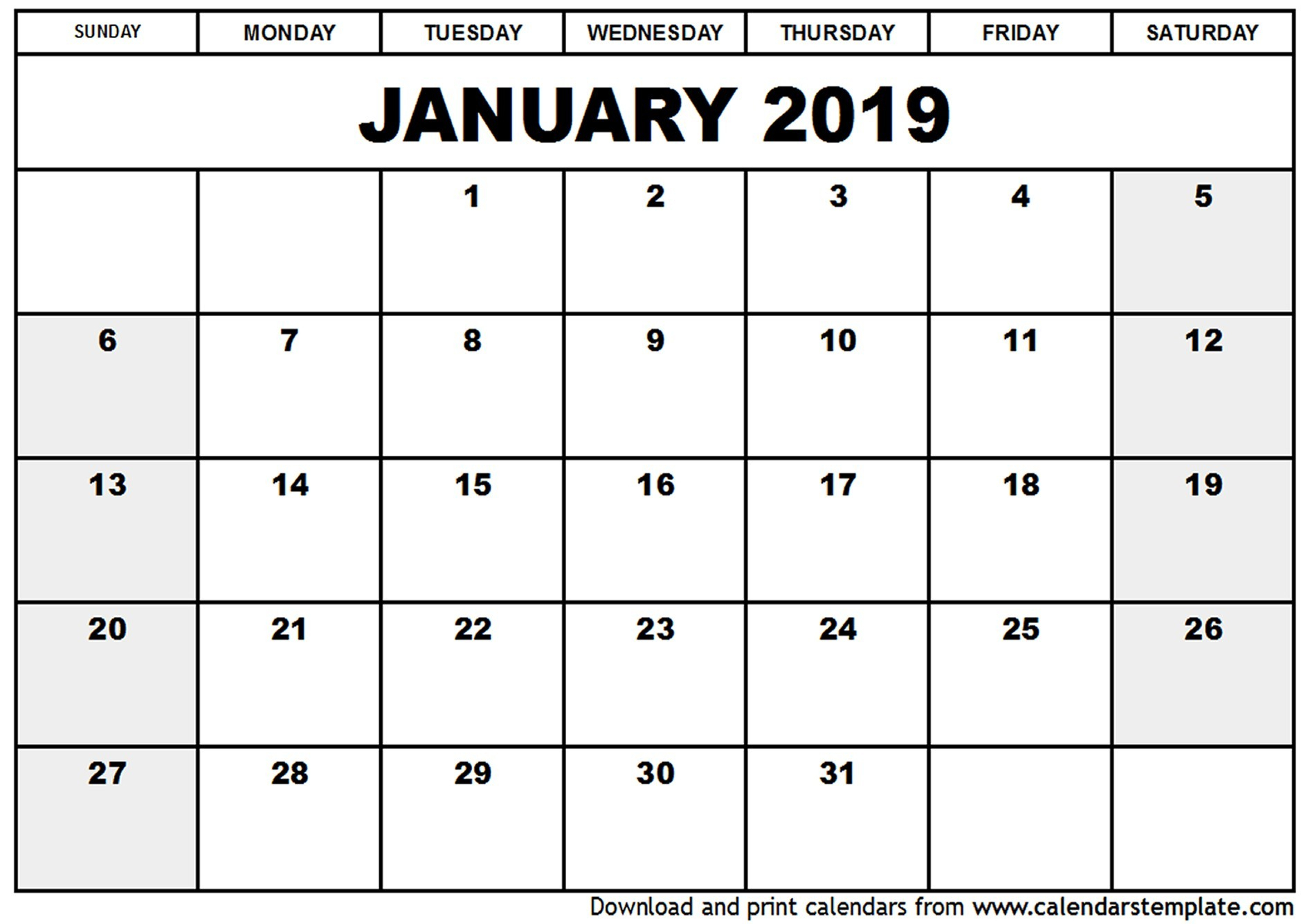 Large Blank Monthly Calendars January 2019 Printable   Calendar Template within Large Blank Monthly Calendars January Printable