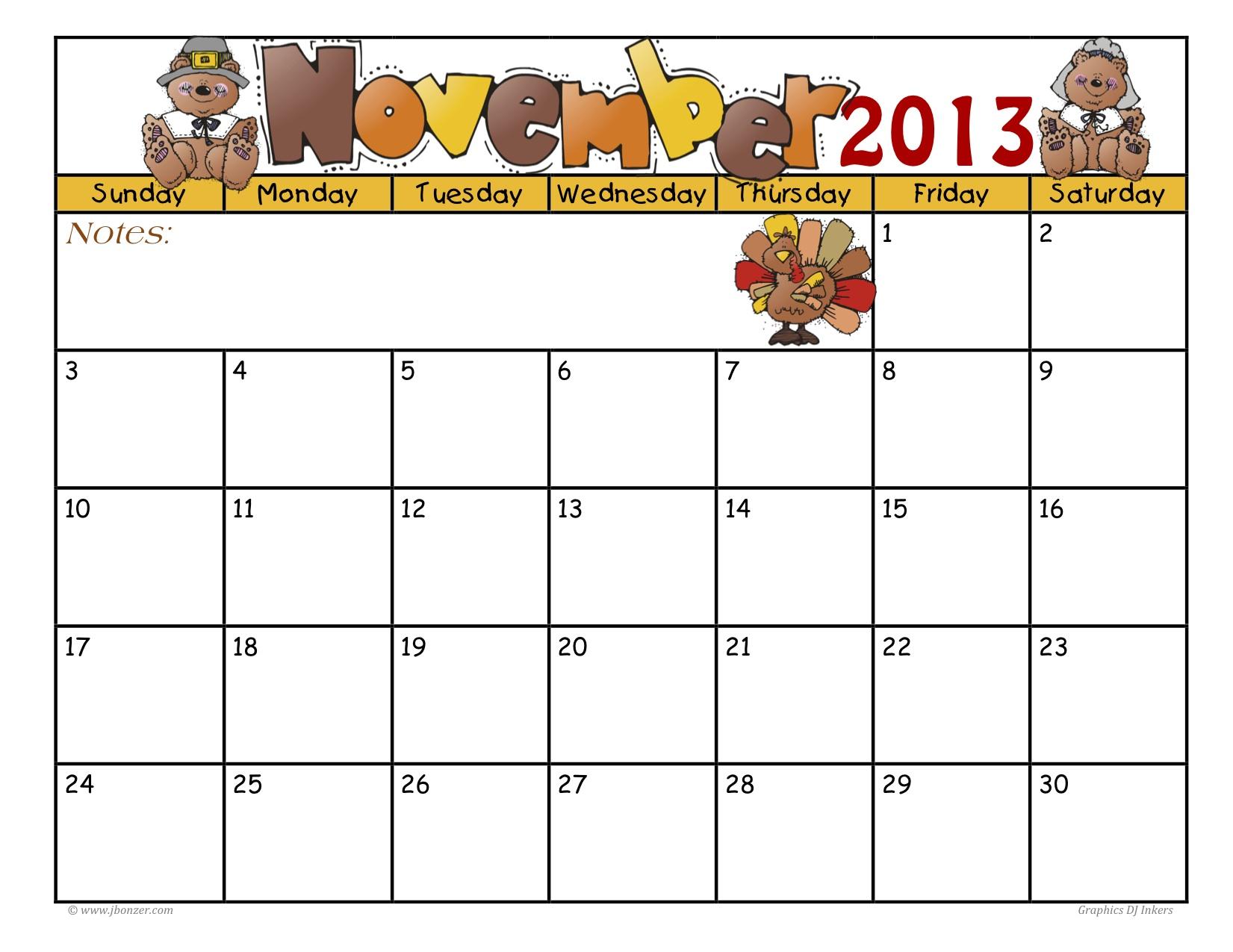 Large-November-Calendar-2016 within November Calendar Template Free