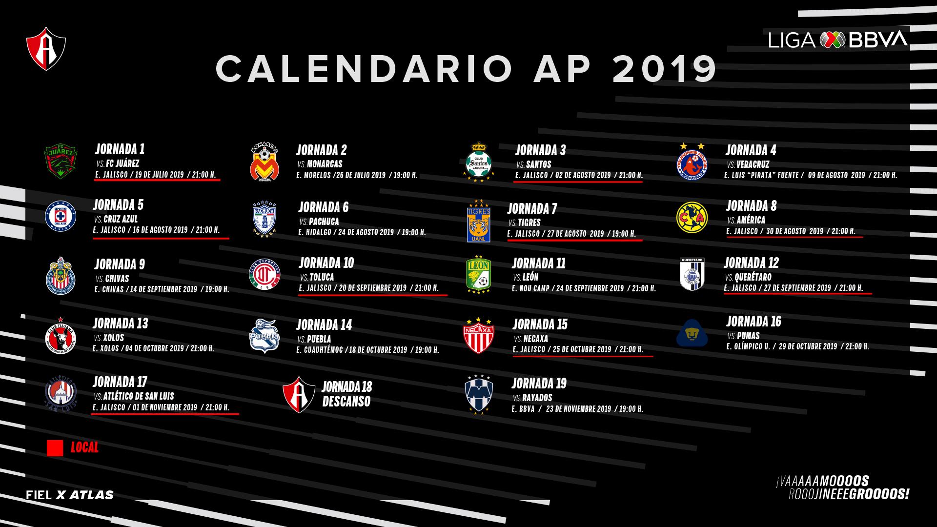 Listo El Calendario De La Academia Para El Apertura 2019 with Calendario Liga Mx 2019 2020