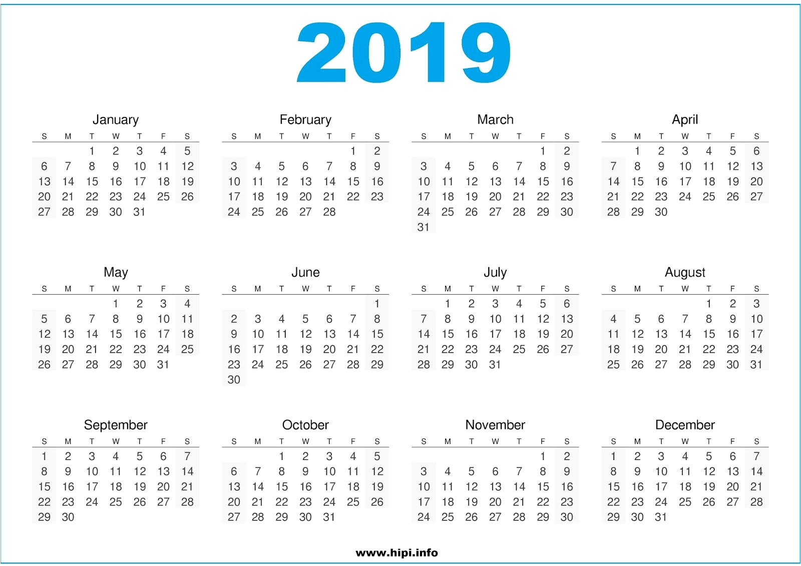 Liturgical Calendar 2019 2020 Printable 2019 Calendar Free Printable throughout 2020 Printable Liturgical Calendar Free