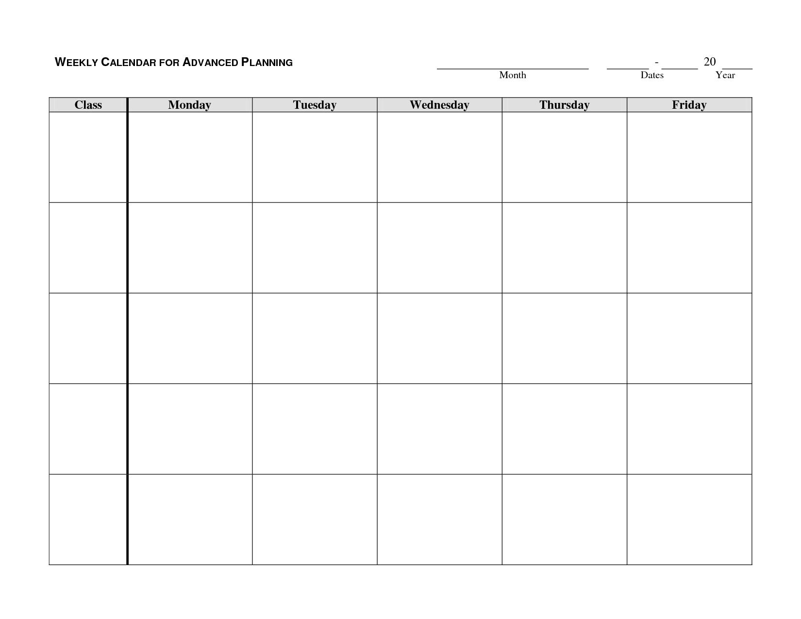 M-F Calendar Template – Get Your Calendar Printable pertaining to Blank Printable Calendar M-F