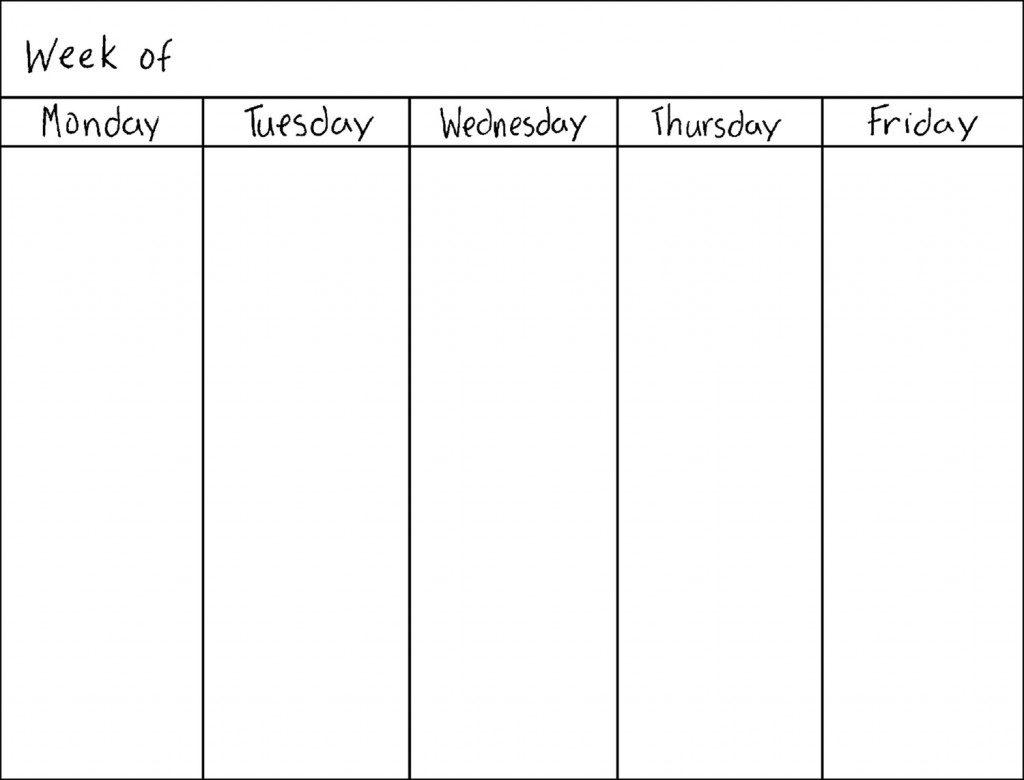 M-F Calendar Template – Get Your Calendar Printable regarding Blank Printable Calendar M-F