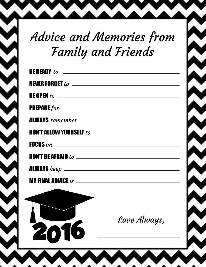 Mackenzie's Advice Cards For High School Graduation! | Graduation pertaining to Blank Graduation Advice Sheets