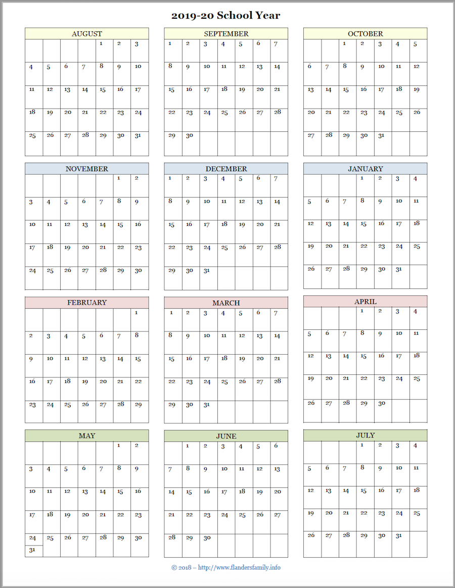 Mailbag Monday: More Academic Calendars (2019-2020) - Flanders intended for 2020 Year At A Glance Free Printable Calendar