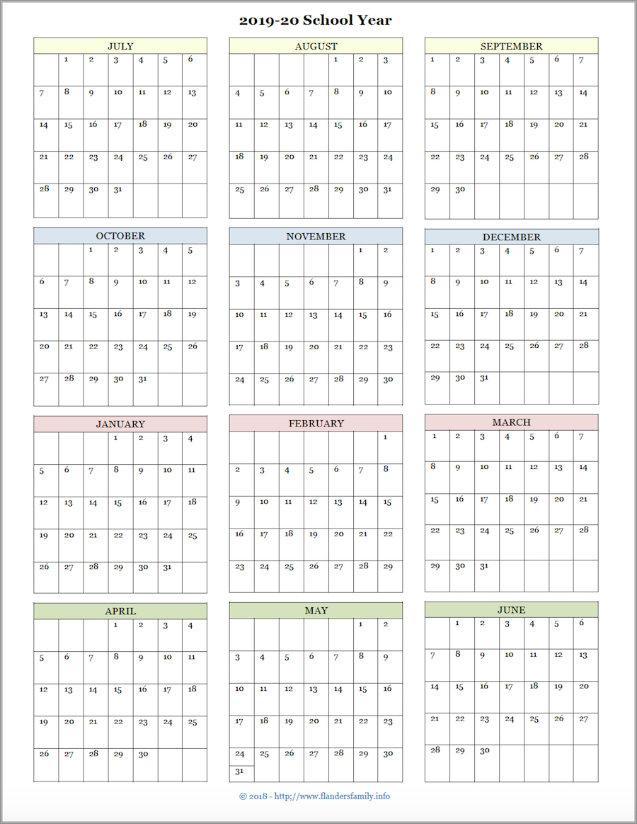 Mailbag Monday: More Academic Calendars (2019-2020) - Flanders intended for Yearly Calendar 2020 With Boxes