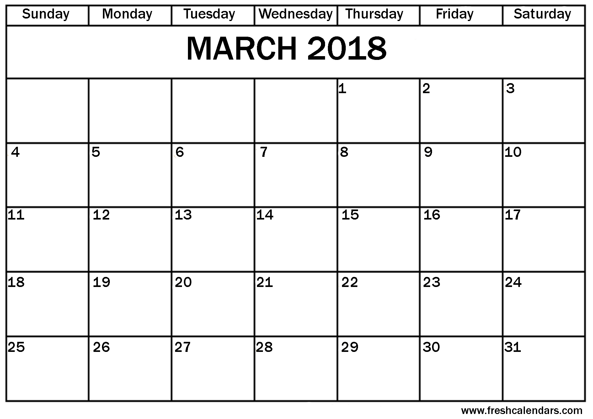 March 2018 Calendar Printable - Fresh Calendars regarding March Calendar Printable Template