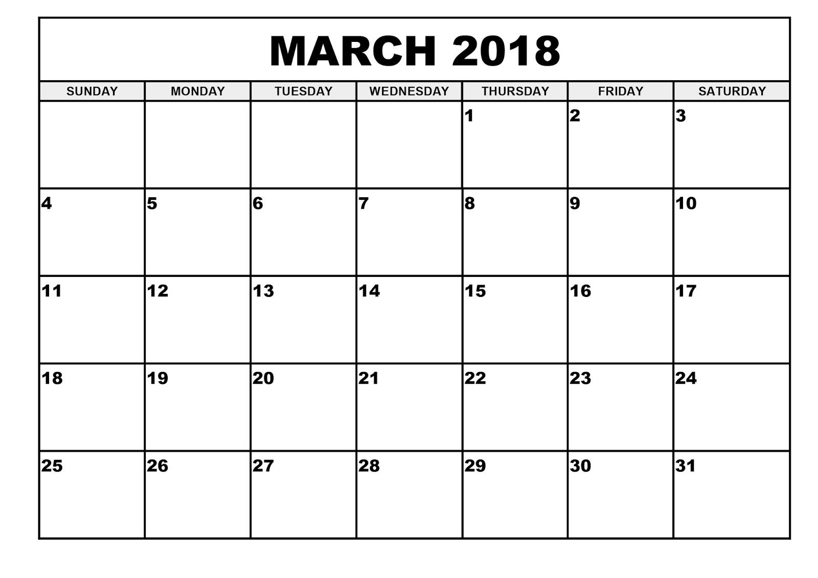 March 2018 Printable Calendar Templates throughout Blank Printable Calendar March